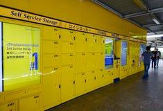 Автоматические шкафчики монетки в Бангкоке, Таиланде Стоковые Изображения RF