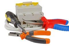 Автоматический автомат защити цепи и инструменты изолированные на белизне Стоковое фото RF