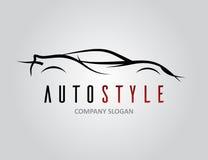 Автоматический дизайн логотипа автомобиля стиля с концепцией резвится силуэт корабля Стоковое Изображение