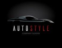 Автоматический дизайн логотипа автомобиля стиля с концепцией резвится силуэт корабля Стоковые Изображения RF