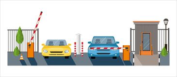 Автоматический поднимать вверх по барьеру с автомобилями на белой предпосылке, строб автоматической системы для безопасности, Стоковое Изображение