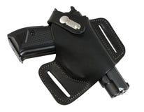 автоматический черный пистолет кобуры цвета Стоковая Фотография