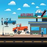 Автоматическое обслуживание, гараж автомобиля, обслуживание автошины - вектор иллюстрация вектора