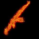 автомат Калашниковаа ak47 горящий Стоковая Фотография RF