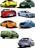 8 автомобилей на дороге иллюстрация вектора