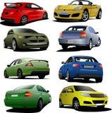 8 автомобилей на дороге V иллюстрация штока