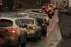 Автомобили в заторе движения Стоковое фото RF
