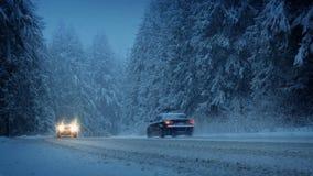 Автомобили в лесе Snowy в вечере видеоматериал