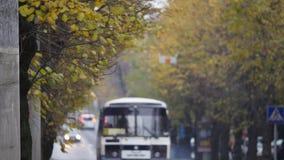 Автомобили идут на дорогу в городе Селективный фокус акции видеоматериалы