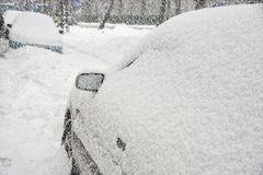 автомобили идут снег вниз Стоковое Фото
