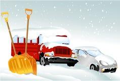 автомобили идут снег вниз Стоковые Изображения