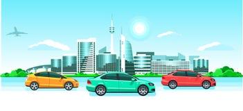 Автомобили на панораме города Восход солнца или заход солнца взморья, живописный ландшафт с современными снежными зданиями, башня иллюстрация штока