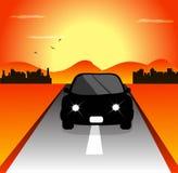автомобили на переднем плане и горизонт на заднем плане иллюстрация вектора
