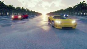 Автомобили спорт гонки на заходе солнца в тропиках Реалистическая анимация 4K иллюстрация вектора