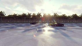 Автомобили спорт гонки на солнечный день в тропиках Реалистическая анимация 4K бесплатная иллюстрация