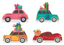 Автомобили с настоящими моментами на верхней части иллюстрация штока