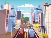 Автомобили улицы города vector иллюстрация шаржа майны движения городского транспорта и crosswalk пешехода с маркировкой Стоковые Фотографии RF