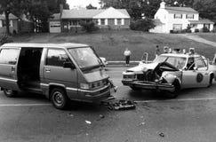 Автомобильная авария полицейской машины стоковые фото