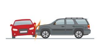 Автомобильная катастрофа включая 2 автомобиля, изолированного на белой предпосылке Стоковые Изображения