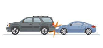 Автомобильная катастрофа включая 2 автомобиля, изолированного на белой предпосылке Стоковые Фотографии RF