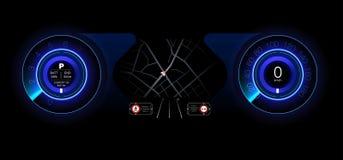 Автомобильная приборная панель будущего Гибридный автомобиль Диагностики и исключение нервных расстройств bluets Стиль Hud голубо Стоковая Фотография