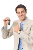 автомобиль бизнесмена пользуется ключом новая Стоковое Изображение RF