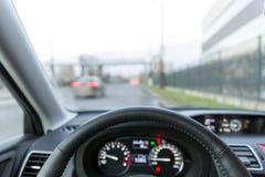 Автомобиль в движении утра, внутреннем взгляде Стоковые Фотографии RF