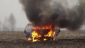 Автомобиль горящий, горящий автомобиль в поле, вид спереди акции видеоматериалы