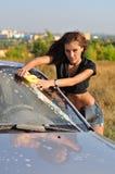 Автомобиль девушки моя Стоковое Изображение RF