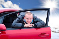 автомобиль его детеныши человека Стоковое фото RF