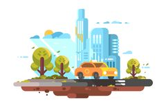 Автомобиль желтого цвета обслуживания такси города иллюстрация штока
