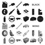 Автомобиль, значки корабля черные в собрании комплекта для дизайна Автомобиль и оборудование vector иллюстрация сети запаса симво иллюстрация штока