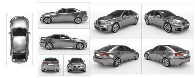 Автомобиль изолированный на белом металле, подкрашиванном стекле - собрании всех бесплатная иллюстрация