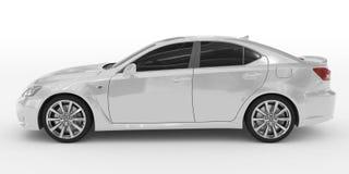 Автомобиль изолированный на бело- белой краске, подкрашиванном стекле - левой стороне VI иллюстрация штока