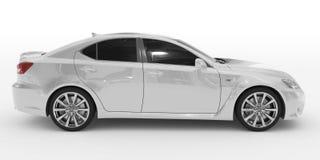 Автомобиль изолированный на бело- белой краске, подкрашиванном стекле - правильной позиции v иллюстрация штока
