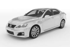 Автомобиль изолированный на бело- белой краске, прозрачном стекле - переднем-l иллюстрация штока