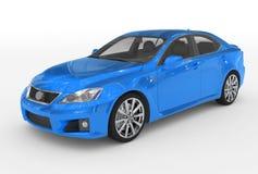 Автомобиль изолированный на бело- голубой краске, прозрачном стекле - передн-le иллюстрация штока