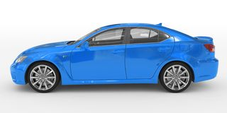 Автомобиль изолированный на бело- голубой краске, прозрачном стекле - левом взгляде со стороны иллюстрация вектора
