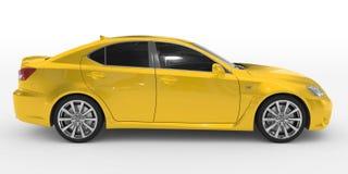 Автомобиль изолированный на бело- желтой краске, подкрашиванном стекле - правильной позиции иллюстрация штока