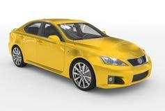 Автомобиль изолированный на бело- желтой краске, прозрачном стекле - фронте иллюстрация штока