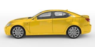 Автомобиль изолированный на бело- желтой краске, прозрачном стекле - левом взгляде со стороны иллюстрация вектора