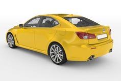Автомобиль изолированный на бело- желтой краске, прозрачном стекле - back-l иллюстрация штока