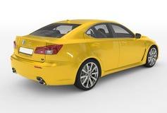 Автомобиль изолированный на бело- желтой краске, прозрачном стекле - back-r иллюстрация штока