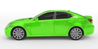 Автомобиль изолированный на бело- зеленой краске, подкрашиванном стекле - левой стороне VI иллюстрация вектора