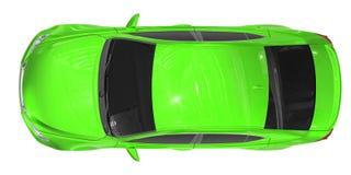 Автомобиль изолированный на бело- зеленой краске, подкрашиванном стекле - взгляд сверху Стоковое фото RF