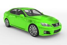 Автомобиль изолированный на бело- зеленой краске, прозрачном стекле - переднем-r иллюстрация вектора