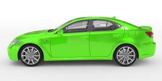 Автомобиль изолированный на бело- зеленой краске, прозрачном стекле - левом взгляде со стороны бесплатная иллюстрация