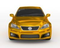 Автомобиль изолированный на бело- золотом, подкрашиванном стекле - вид спереди иллюстрация штока