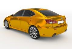 Автомобиль изолированный на бело- золотом, подкрашиванном стекле - назад-левой стороне VI иллюстрация штока
