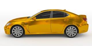 Автомобиль изолированный на бело- золотом, подкрашиванном стекле - выведенном взгляде со стороны иллюстрация штока